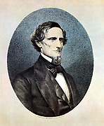 Jefferson Davis (1809-1889) President of the Confederate (southern) States. Captured by Union (northern) cavalry in 1865 and imprisoned for two years. Lithograph after painting by Thomas Hicks of 14 June 1860.