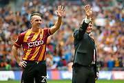 Bradford City defender Anthony McMahon (29) and Bradford City both wave to the crowd while they wait for the national anthem during the EFL Sky Bet League 1 play off final match between Bradford City and Millwall at Wembley Stadium, London, England on 20 May 2017. Photo by Simon Davies.