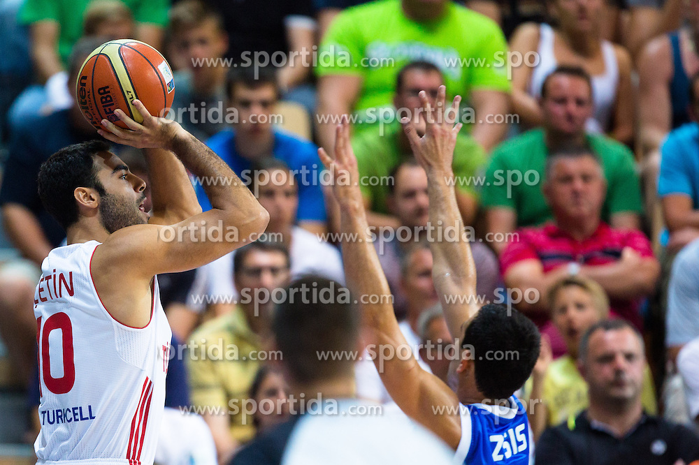 Serhat Cetin #10 of Turkey during basketball match between national team of Turkey and Greece of Eurobasket 2013 on September 7, 2013 in Arena Bonifika, Koper, Slovenia. (Photo By Matic Klansek Velej / Sportida.com)