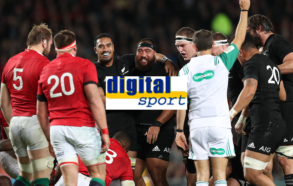 Rugby Union - 2017 British &amp; Irish Lions Tour of New Zealand - Third Test: New Zealand vs. British &amp; Irish Lions<br /> <br /> Jerome Kaino and Charlie Faumuina of The All Blacks celebrate before Roman Poite referee gives a penalty then changes his mind  at Eden Park.<br /> <br /> COLORSPORT/LYNNE CAMERON