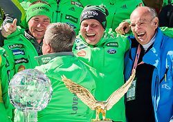 Slovenian coaches Nejc Frank, Jani Grilc, Goran Janus, Ljubo Jasnic celebrate during trophy ceremony after the Ski Flying Hill Individual Competition at Day 4 of FIS Ski Jumping World Cup Final 2016, on March 20, 2016 in Planica, Slovenia. Photo by Vid Ponikvar / Sportida