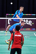 (L) SO Germany athlete Andrej Lamert and (R) SO Germany athlete Peter Wenzel in action against SO Bangladesh at badminton competition during seventh day of the Special Olympics World Games Los Angeles 2015 on July 31, 2015 at South Hall of Convention Centre  in Los Angeles, USA.<br /> <br /> USA, Los Angeles, July 31, 2015<br /> <br /> Picture also available in RAW (NEF) or TIFF format on special request.<br /> <br /> For editorial use only. Any commercial or promotional use requires permission.<br /> <br /> Adam Nurkiewicz declares that he has no rights to the image of people at the photographs of his authorship.<br /> <br /> Mandatory credit:<br /> Photo by &copy; Adam Nurkiewicz / Mediasport