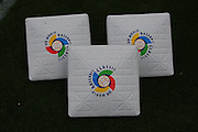 LOS ANGELES, CA - MARCH 22: The WBC logo is imprinted on the bases as the USA gets ready to play against Japan in game two of the semifinal round of the 2009 World Baseball Classic at Dodger Stadium in Los Angeles, California on Sunday March 22, 2009. Japan defeated USA 9-4. (Photo by Paul Spinelli/WBCI/MLB Photos)