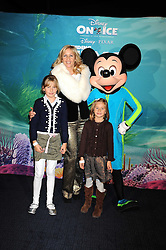 "TANIA BRYER and her daughters FRANCESCA and NATASHA photographed with Mickey Mouse at a VIP Opening night of Disney & Pixar's ""Finding Nemo on Ice"" at The O2 Arena Grennwich London on 23rd October 2008."