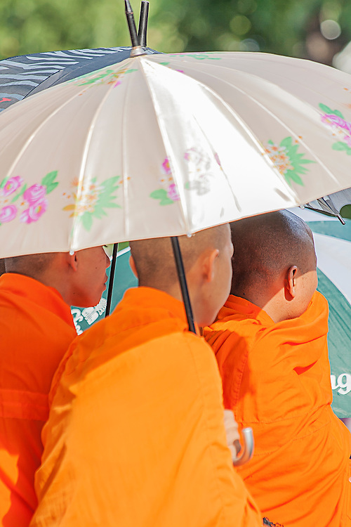 Buddhist monks sheltering under an umbrella  while waiting for the funeral parage of King