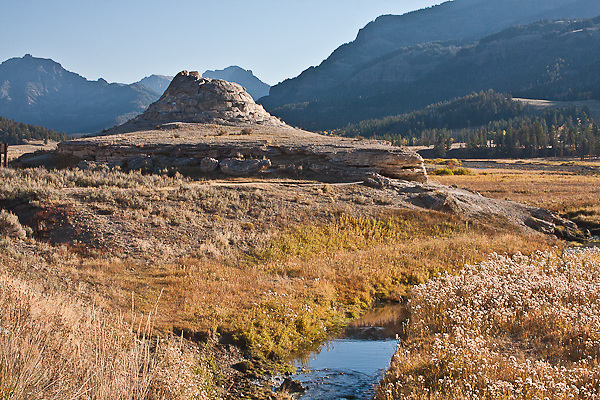 Soda Butte, this travertine mound was formed over a century ago.  Found along Soda Butte Creek.  Yellowstone National Park, Wyoming, USA.