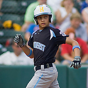 8/22/10 Aberdeen, MD: Ocala Florida second baseman Kole Harris (6) scores in the bottom of the 3rd after Brandon Reitz grounded out to the short stop putting Ocala Florida on the board 6-1 at The Cal Ripken World Series in Aberdeen MD. Credit: Saquan Stimpson/ Southcreek Global