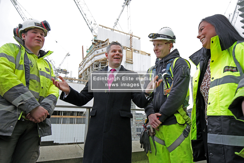 Finance Secretary Derek Mackay with apprentices at the St James Edinburgh construction site. pic copyright Terry Murden @edinburghelitemedia