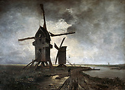 Windmills near Lille', 1877. Oil on canvas.  Emmanuel Lansyer (1835-1893) French landscape painter. Two postmills  by a waterway in silhouette against a clouded sky. France Technology Power Wind Grey Bleak