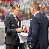 2019-09-17 | Malmö, Sweden: Malmö Redhawks assisting coach Martin Filander during the game between Malmö Redhawks and Rögle BK at Malmö Arena ( Photo by: Roger Linde | Swe Press Photo )<br /> <br /> Keywords: Malmö Arena, Malmö, Icehockey, SHL, Malmö Redhawks, Rögle BK, mr190917