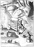 Washing ore to extract gold.  Water is fed into a sieve containing crushed ore. Solution containing ore in suspension is fed along collecting pans, often lined with dark woollen cloth.  Gold, being the heaviest ingredient, separated out on the way. From 1683 English edition of 'Beschreibung allerfurnemisten mineralischen Ertzt',  Lazarus Ercker, (Prague, 1574). Copperplate engraving.