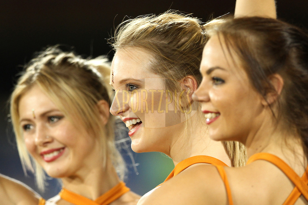 Sunrisers Hyderabad Cheerleaders during match 45 of the Pepsi IPL 2015 (Indian Premier League) between The Delhi Daredevils and the Sunrisers Hyderabad held at the Shaheed Veer Narayan Singh International Cricket Stadium in Raipur, India on the 9th May 2015.<br /> <br /> Photo by:  Deepak Malik / SPORTZPICS / IPL