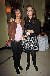 Left to right, the MARCHIONESS OF WORCESTER and her daughter LADY BELLA SOMERSET at a party to celebrate the publiction of 'No Invitation Required' by Annabel Goldsmith, held at Claridge's, Brook Street, London on 11th November 2009.