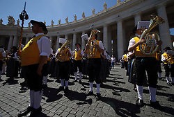 May 28, 2017 - Vatican City State (Holy See) - POPE FRANCIS leads Regina Coeli prayer from the window of the Apostolic Building at the Vatican  (Credit Image: © Evandro Inetti via ZUMA Wire)