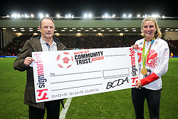 Team GB Olympic Hockey Gold Medallist from Rio 2016 and Bristol City Fan Lily Owsley presents the half time draw cheque - Rogan Thomson/JMP - 27/09/2016 - FOOTBALL - Ashton Gate Stadium - Bristol, England - Bristol City v Leeds United - Sky Bet EFL Championship.