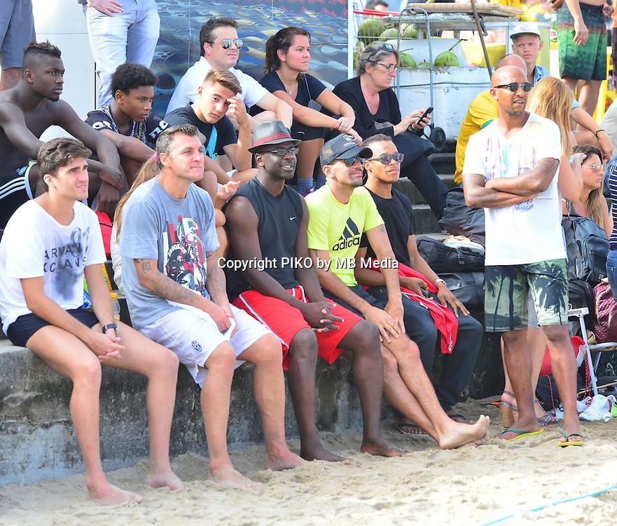 Fifa Soccer World Cup - Brazil 2014 - Ex International soccer players CHRISTIAN VIERI (ITA) - JUAN SEBASTIAN VERON (ARG) - EDGAR DAVIDS (NED) and LILIAN THURAM (FRA) - FABIO CANNAVARO (ITA) enjoy the day before to the final match, play Football - Volley at the beach in Ipanema  - Rio de Janeiro  -Brazil (BRA) - 12 July 2014 <br /> &copy; PikoPress