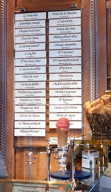 Ice cream menu at the famous Berthillon on the Il St-Louis in the heart of Paris.