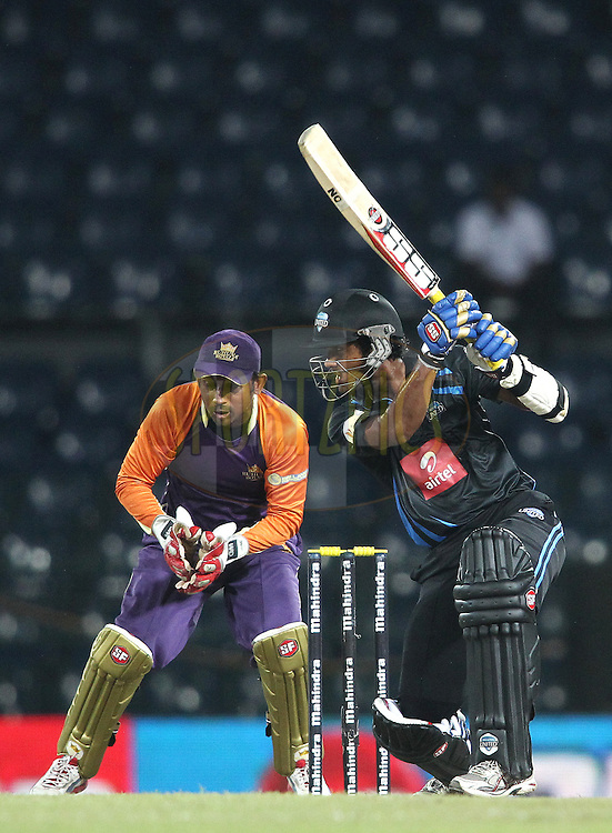Dinesh Chandimal of Wayamba United square drives a delivery during match 20 of the Sri Lankan Premier League between Ruhuna Royals and Wayamba United held at the Premadasa Stadium in Colombo, Sri Lanka on the 26th August 2012. .Photo by Shaun Roy/SPORTZPICS/SLPL