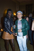 JENNY AGIVI,; MARC QUINN;, Okwui Enwezor and Vinyl Facorty hosted party at Ca'Sagredo, Campo Santa Sofia Venice Biennale, Venice. 5 May 2015