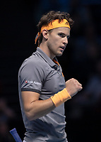 Tennis - 2019 Nitto ATP Finals at The O2 - Day Eight<br /> <br /> Singles Final : Stefanos Tsitsipas (Greece) Vs. Dominic Thiem (Austria)<br /> <br /> Dominic Thiem (Austria) looks to his bench as he recovers the points lost to hold service game <br /> <br /> COLORSPORT/DANIEL BEARHAM