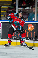 KELOWNA, CANADA - NOVEMBER 10: James Hilsendager #2 of the Kelowna Rockets looks for the pass against the Vancouver Giants on November 10, 2017 at Prospera Place in Kelowna, British Columbia, Canada.  (Photo by Marissa Baecker/Shoot the Breeze)  *** Local Caption ***