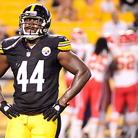 Pittsburgh Steelers linebacker Vince Williams (44) reacts to the touchdown celebration by the Kansas City Chiefs after winning the game 26-20 in overtime of the preseason game at Heinz Field in Pittsburgh on August 24, 2013.  UPI/Archie Carpenter