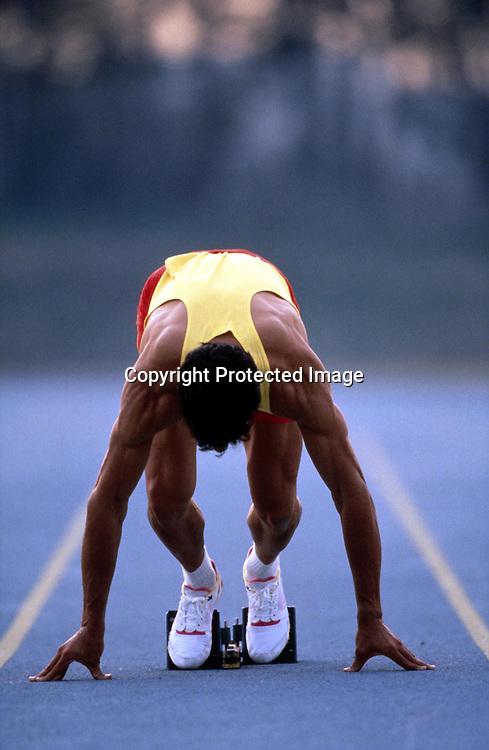 1992. Athletics, Model Release.<br />Sprint Start<br />Please credit: David Madison/ Photosport