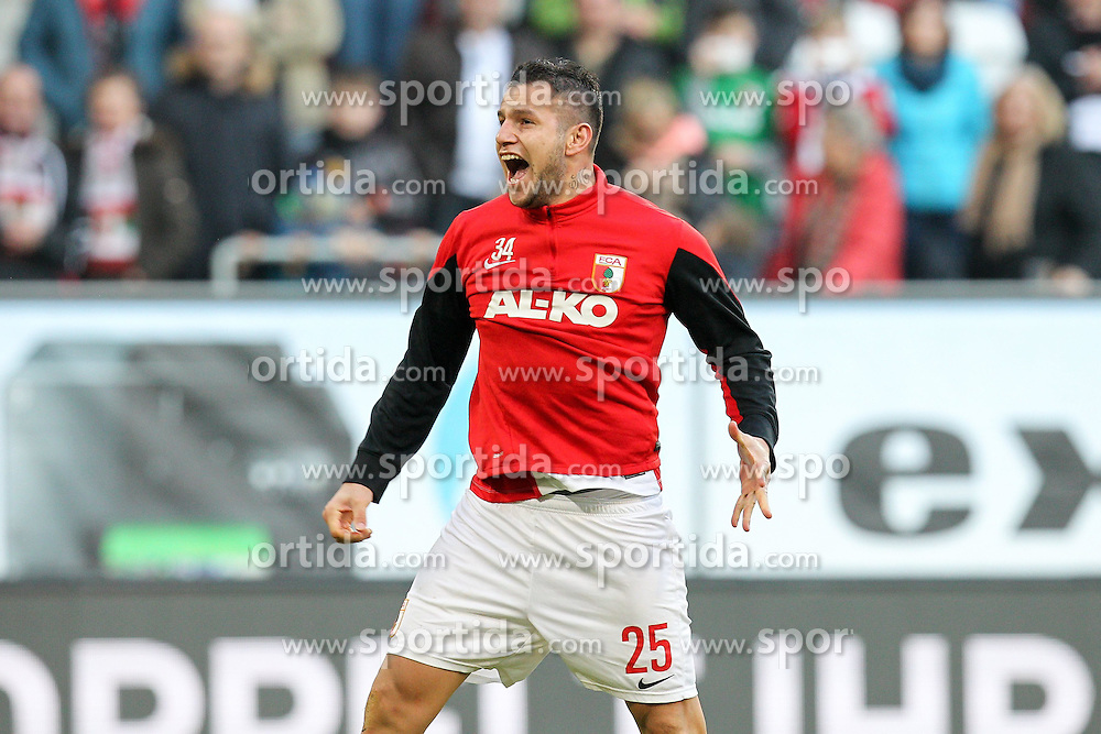 07.03.2015, SGL Arena, Augsburg, GER, 1. FBL, FC Augsburg vs VfL Wolfsburg, 24. Runde, im Bild Schlussjubel von Raul Bobadilla #25 (FC Augsburg) beim Fanblock // during the German Bundesliga 24th round match between FC Augsburg and VfL Wolfsburg at the SGL Arena in Augsburg, Germany on 2015/03/07. EXPA Pictures &copy; 2015, PhotoCredit: EXPA/ Eibner-Pressefoto/ Kolbert<br /> <br /> *****ATTENTION - OUT of GER*****