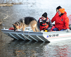 Members of the Ramapo Rescue Dog Association of New Jersey with Allentown firefighters search the Lehigh River by boat. Emergency crews continue to search for a missing child on Jan. 2nd, 2016, near Keck Park in Allentown. The five-year-old autistic child went missing around 11pm on Dec. 31st, 2015 from a family gathering on the east side of Allentown. (Chris Post   lehighvalleylive.com)