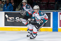 KELOWNA, CANADA - MARCH 11: Nick Merkley #10 of Kelowna Rockets skates against the Victoria Royals on March 11, 2015 at Prospera Place in Kelowna, British Columbia, Canada.  (Photo by Marissa Baecker/Shoot the Breeze)  *** Local Caption *** Nick Merkley;