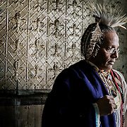 NEW YORK, NY - DECEMBER 30, 2016: Anthony Jay Van Dunk, a former chief of the Lenape tribe poses for a portrait in the building at 6 Weehawken Street, a property that Jean-Louis Bourgeois is donating to Van Dunk, in New York, New York. CREDIT: Sam Hodgson for The New York Times.