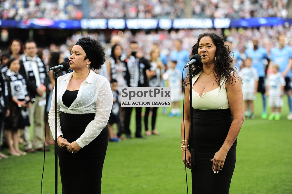 Vika & Linda Bull sing the national anthem ahead of the Hyundai A-League (Australia Day) - January 26th 2016 - RD16 - Melbourne Victory FC v Sydney FC at Etihad Stadium, Docklands, Melbourne, Australia in a 1:0 win to Victory - © Mark Avellino | SportPix.org.uk