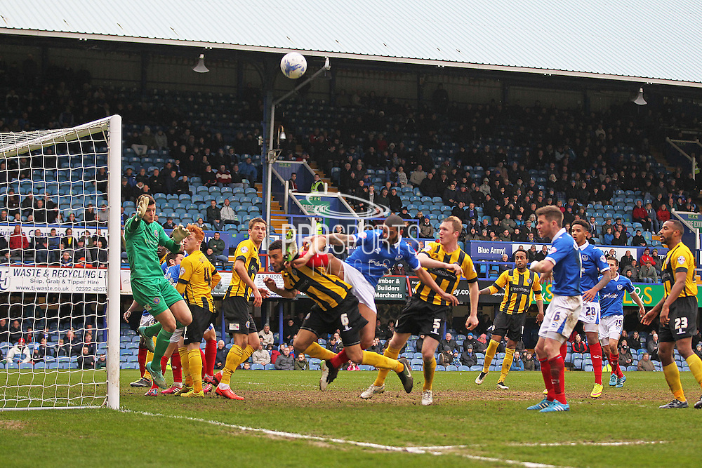 Shrewsbury Town defender Connor Goldson battles for the ball during the Sky Bet League 2 match between Portsmouth and Shrewsbury Town at Fratton Park, Portsmouth, England on 28 March 2015. Photo by Phil Duncan.