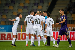 Players of Olimpija complaining to main referee Matej Jug about red card during football match between NK Maribor and Olimpija in 3nd Round of Prva liga Telekom Slovenije 2019/20, on July 28, 2019 in Ljudski Vrt, Maribor, Slovenia. Photo by Blaž Weindorfer / Sportida