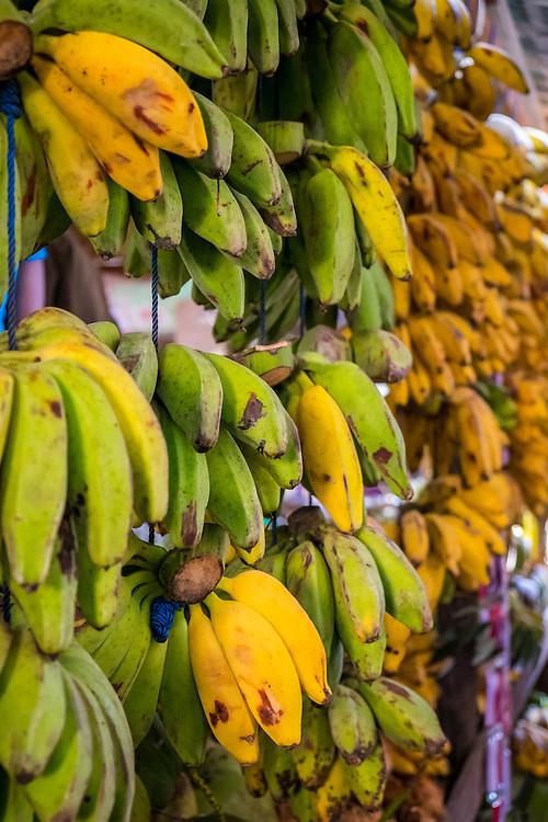 Bananas hanging in the Nyaung U market close to Bagan in Myanmar