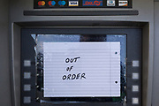 A detail of an out of order Cash dispenser (ATM) in West Norwood, south London, on 14th November 2019, in London, England.