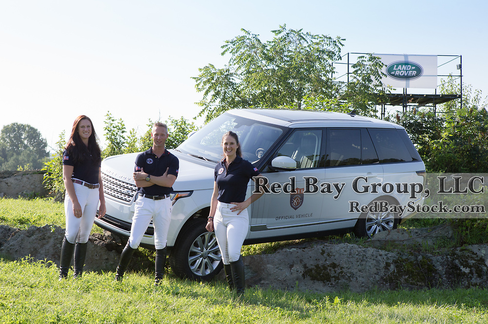 (From L to R): U.S. Eventing Team; Lauren Kieffer, Clark Montgomery and Maya Black, at the 2016 Land Rover Great Meadow International, at the Great Meadow Foundation in The Plains, VA on Friday, July 8, 2016 with the 2016 Range Rover.