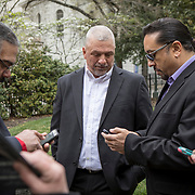 Dean Branham, Chief of Monacan Nation, center with Frank Adams, Chief of upper Mattaponi and Earl Evans, of Haliwa-Saponi, after a dedication ceremony for Mantle: Virginia Indian Tribute, a monument designed on Virginia State Capitol Square, in Richmond, Virginia, on Tuesday, April 17, 2018. John Boal Photography