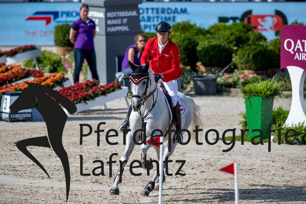 KUEHNER Max (AUT), CHARDONNAY 79<br /> Rotterdam - Europameisterschaft Dressur, Springen und Para-Dressur 2019<br /> Longines FEI Jumping European Championship - 1st part - speed competition against the clock<br /> 1. Runde Zeitspringen<br /> 21. August 2019<br /> © www.sportfotos-lafrentz.de/Stefan Lafrentz