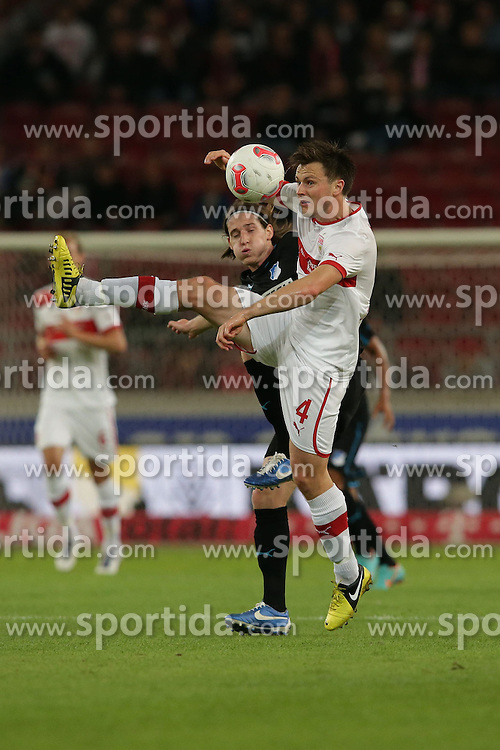 26.09.2012, Mercedes Benz Arena, Stuttgart, GER, 1. FBL, VfB Stuttgart vs TSG 1899 Hoffenheim, 05. Runde, im Bild William KVIST (VfB Stuttgart), vorn im Zweikampf mit Sebastian RUDY (TSG 1899 Hoffenheim) // during the German Bundesliga 05th round match between VfB Stuttgart and TSG 1899 Hoffenheim at the Mercedes Benz Arena, Stuttgart, Germany on 2012/09/26. EXPA Pictures © 2012, PhotoCredit: EXPA/ Eibner/ Eckhard Eibner..***** ATTENTION - OUT OF GER *****
