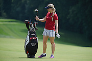 Jul 12, 2015; Lancaster, PA, USA; Charley Hull puts her club back in the bag after a fairway shot on the second hole during the final round of the U.S. Women's Open at Lancaster Country Club.