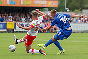 AFC Wimbledon striker Joe Pigott (39) shoots at goal during the EFL Sky Bet League 1 match between AFC Wimbledon and Rotherham United at the Cherry Red Records Stadium, Kingston, England on 3 August 2019.