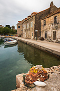 Fishing boats and nets in Sudurad, Sipan Island, Dalmatian Coast, Croatia
