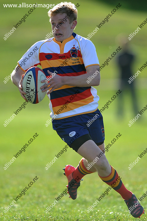 Sam Darling of John McGlashan makes a run, during the Otago Secondary School Rugby Competition match between John McGlashan College 1st XV and St Kevins College 1st XV, held at St Kevins College, Oamaru, New Zealand, 16th May 2015. Credit: Joe Allison / allisonimages.co.nz