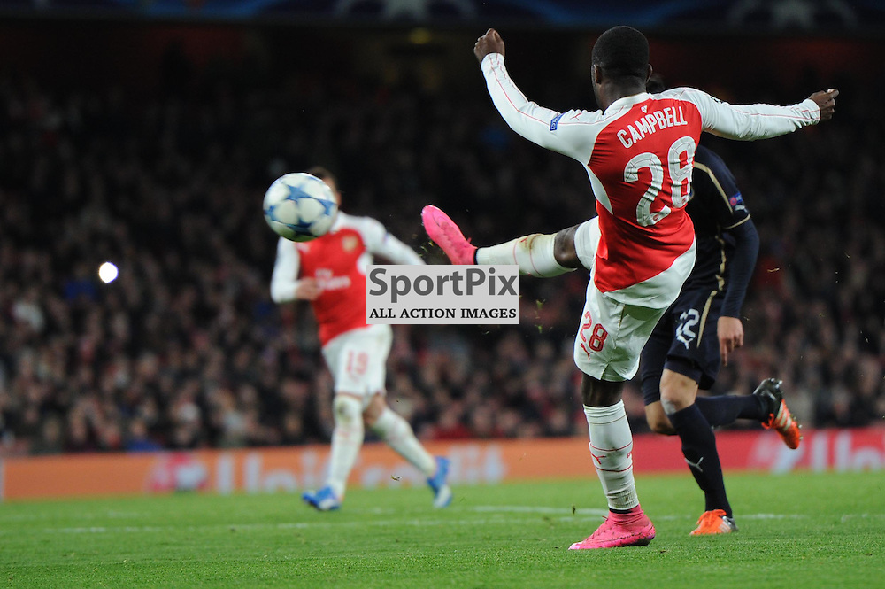 Arsenals Joel Campbell gets a shot away during the Arsenal v Dinamo Zagreb game in the UEFA Champions League on the 24th November 2015 at the Emirates Stadium.