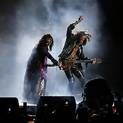 Aerosmith perform during the Concert for Legends at Tom Benson Hall of Fame Stadium in Canton, Ohio on Aug. 7, 2015. (AP Photo/Ben Liebenberg)