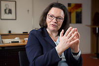 15 MAR 2018, BERLIN/GERMANY:<br /> Andrea Nahles, SPD Fraktionsvorsitzende, waehrend einem Interview, in ihrem Buero, Jakob-Kaiser-Haus, Deutscher Bundestag<br /> IMAGE: 20180315-01-023<br /> KEYWORDS: B&uuml;ro