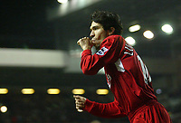 Photo: Aidan Ellis.<br /> Liverpool v Arsenal. The Barclays Premiership. 14/02/2006.<br /> Liverpool's Luis Garcia celebrates his goal