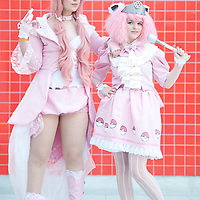 London, UK - 26 May 2013: Arianna Stenson dressed as Wiggletuff and Adele Cooper dressed as Jigglepuff of Pokemon poses for a picture during the London Comic Con 2013 at Excel London. London Comic Con is the UK's largest event dedicated to pop culture attracting thousands of artists, celebrities and fans of comic books, animes and movie memorabilia.