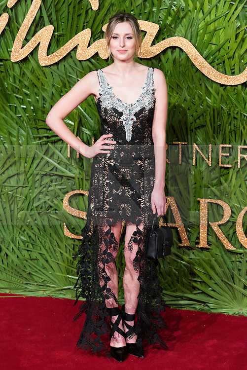 © Licensed to London News Pictures. 04/12/2017. London, UK. LAURA CARMICHAEL arrives for The Fashion Awards 2017 held at the Royal Albert Hall. Photo credit: Ray Tang/LNP